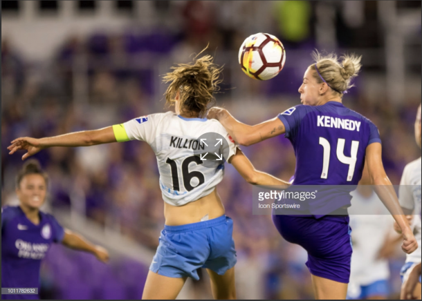Pride midfielder, Alanna Kennedy, fights Sky Blue for possession. Photo: Getty Images/IconSportswire