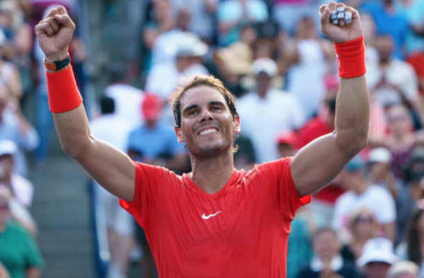 Nadal celebrates after adding another Rogers Cup title, his fourth title in Canada and a record 33rd Masters title (Icon Sportsiwre/Getty Images)