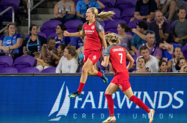 Lindsey Horan celebrates her league leading 11th goal of the season in Orlando. (Photo by Joe Petro/Icon Sportswire via Getty Images)