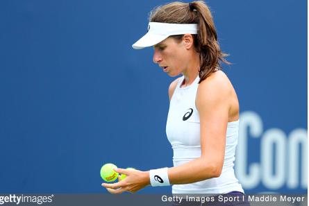 Johanna Konta prepares to serve | Getty Images Sport | Maddie Meyer