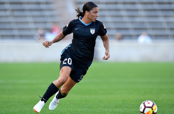 This is the third time Sam Kerr has earned Player of the Month award in her career. (Photo by Quinn Harris/Icon Sportswire via Getty Images)
