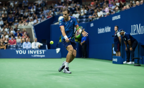 Pospisil's backhand was oddly the shot that was a bit more consistent today (Icon Sportswire/Getty Images)