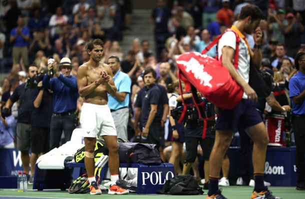 Nadal led the well-deserving ovation for the Russian as he walked off the court (Julian Finney/Getty Images)