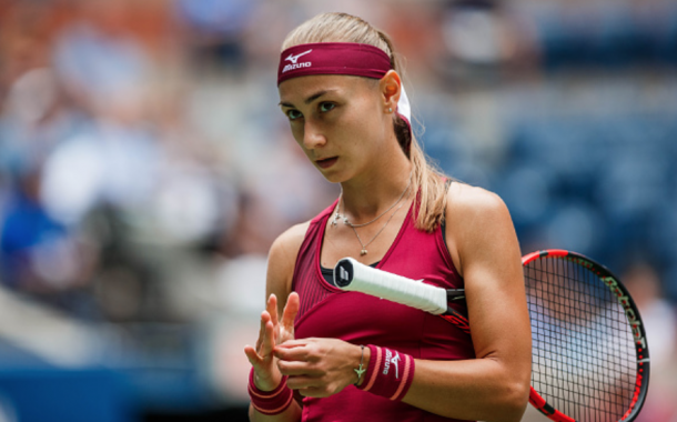 Aleksandra Krunic looks on during her match vs Madison Keys (Icon Sportswire/Getty Images)