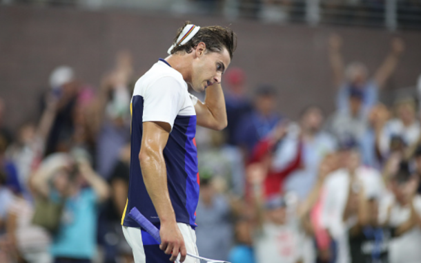 Thiem had a much different look on his face after his round of 16 match last year (Tim Clayton/Corbis Sport/Getty Images)
