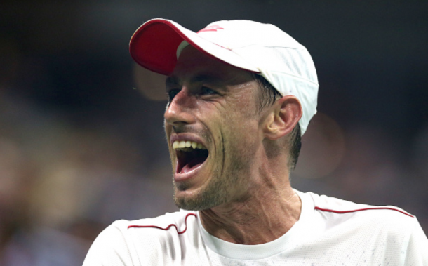 John Millman often gave himself some self-coaching which he said was a major help tonight (Alex Pantling/Getty Images)