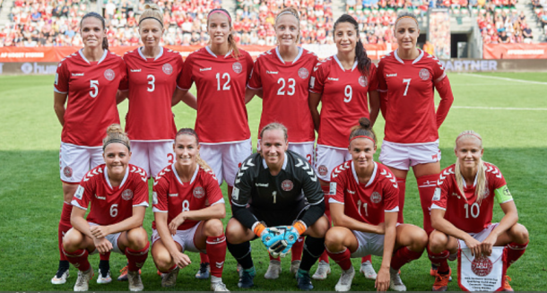 Theresa Nielsen and Denmark will try to qualify for the World Cup via the UEFA playoff. (Photo by Lars Ronbog / FrontZoneSport via Getty Images)
