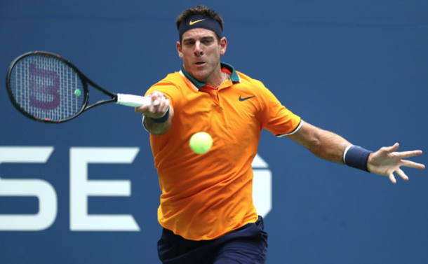Del Potro really worked his forehand around the court (Al Bello/Getty Images)
