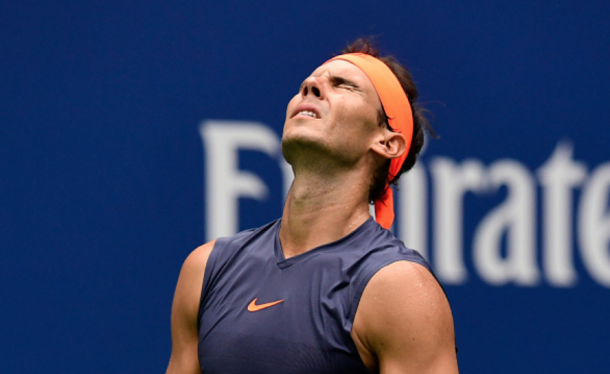 Nadal grimaced in pain often in the second set (Sarah Stier/Getty Images)