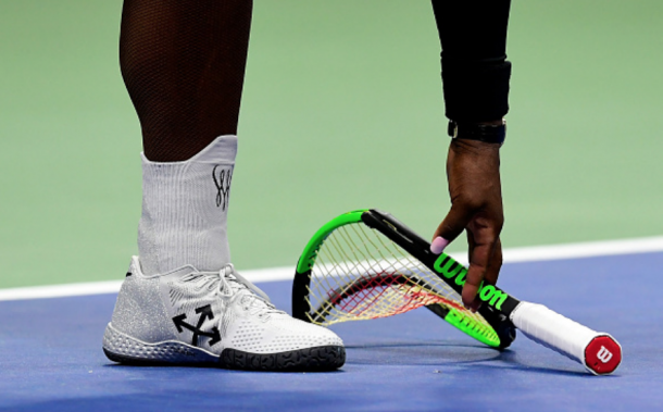 The smashed racquet cost Serena a point in one of Osaka's service games (Sarah Stier/Getty Images)