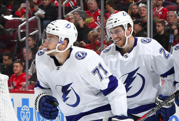 Anthony Cirelli celebrates his goal with teammates. | Photo: Tampa Bay Lightning on Twitter