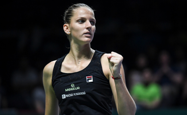 Pliskova celebrates winning a point in the opening set (Fred Lee/Getty Images)