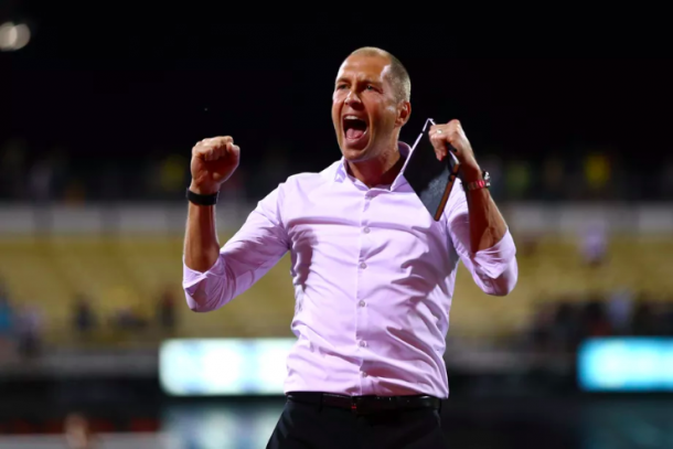 Gregg Berhalter celebrating a Columbus Crew SC win. | Photo: Aaron Doster - USA Today Sports