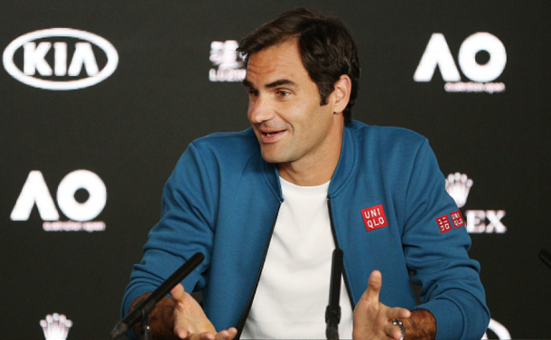 Roger Federer during his pre-tournament press conference at the Australian Open (Fred Lee/Getty Images)