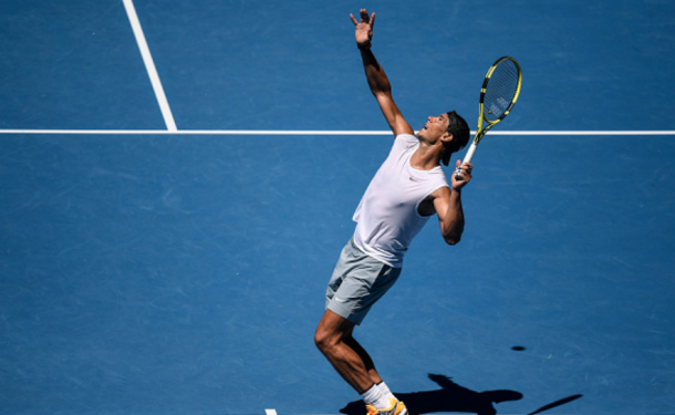 Nadal practicing his serve ahead of the Australian Open (Fred Lee/Getty Images)