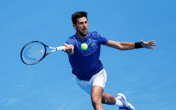 Djokovic practicing ahead of the Australian Open (Fred Lee/Getty Images)