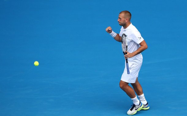 Dan Evans was broken early in the second but leveled it later on (Cameron Spencer/Getty Images)