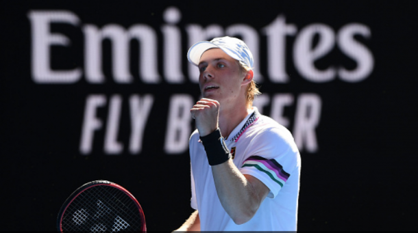 Shapovalov celebrates winning the third set (Quinn Rooney/Getty Images)