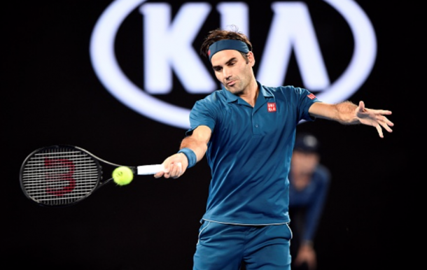 Federer's forehand was worked by Tsitsipas today (Anadolu Agency/Getty Images)