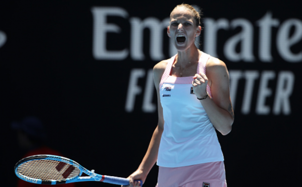 Pliskova reacts to winning the first set against Serena Williams (Mark Kolbe/Getty Images)