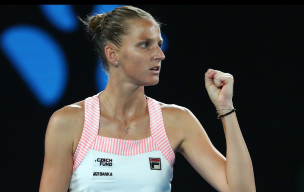 Pliskova reacts to breaking and winning the second set (Michael Dodge/Getty Images)