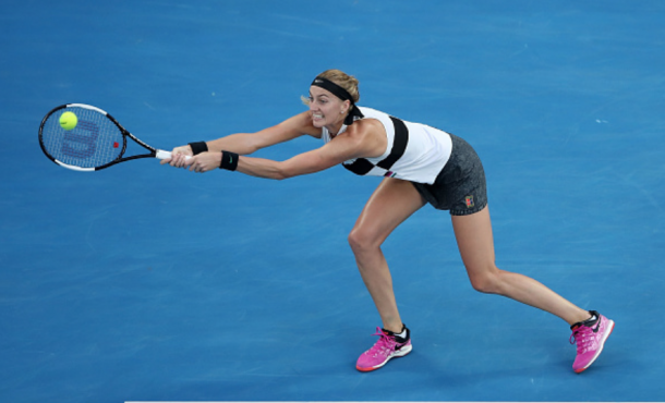 Kvitova's backhand return was causing Osaka a lot of problems (Cameron Spencer/Getty Images)