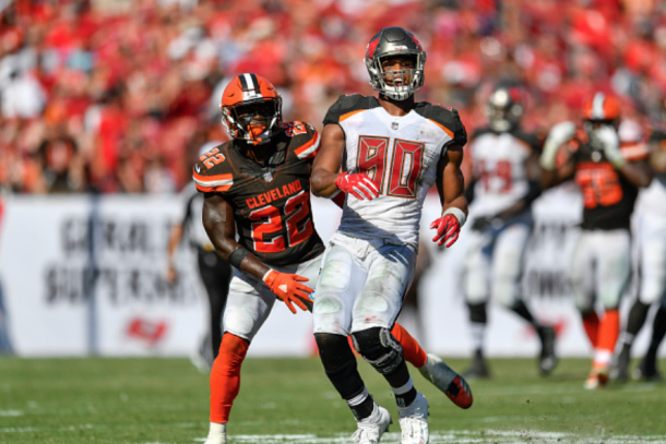 Jabrill Peppers in action against the Tampa Bay Buccaneers (Icon Sportswire/Getty Images)