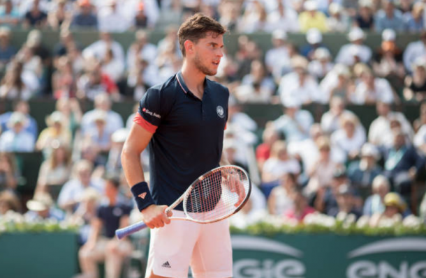Thiem reacts during the 2018 French Open final (Tim Clayton/Corbis Sport/Getty Images)