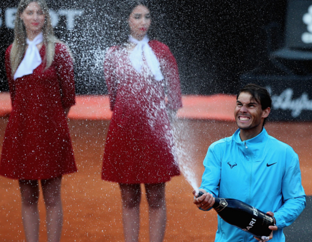 Nadal celebrates his victory in the Rome final (Paolo Bruno/Getty Images)