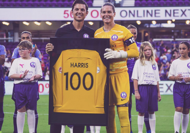 Goalkeeper Ashlyn Harris recognized in pre-game ceremony for 100 NWSL regular season matches. (Photo: twitter.com/ORLPride)