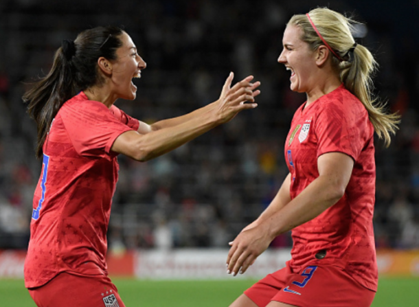 Christen Press and Lindsey Horan celebrates Horan's second half goal. (Photo by Hannah Foslien/Getty Images)