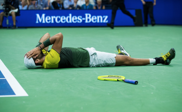Berrettini reacts to his win over Gael Monfils (Chaz Niell/Getty Images/Zimbio)