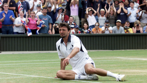 A Dream Realized: Goran Ivanisevic reacts after his Wimbledon victory in 2001 (Tom Hegezi/PA Images/Getty Images)