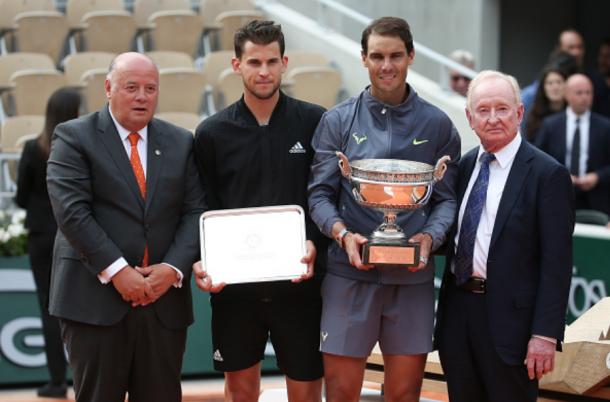 Nadal and Thiem during the French Open trophy ceremony (Jean Catuffe/Getty Images)
