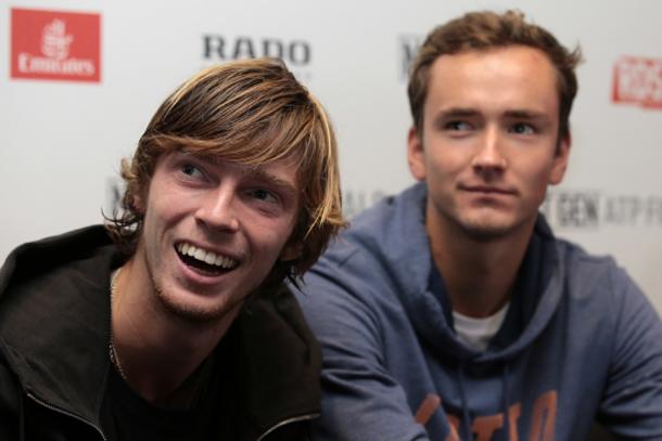 Rublev (left) and Medvedev during ATP NextGen Finals Media Day (Emilio Andreoli/Getty Images)