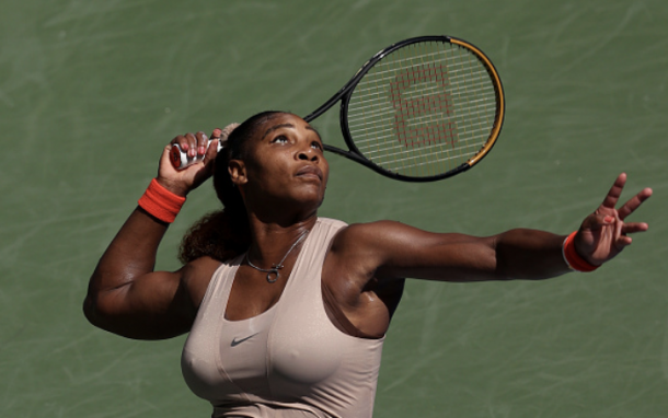 Serena served very well throughout the match (Photo: Al Bello)