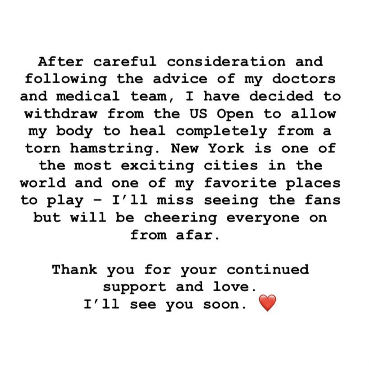 Serena's statement on Instagram about her withdrawal