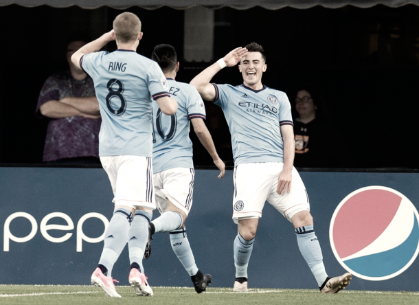 Jack Harrison celebrates his first of the night. | Photo: NYCFC