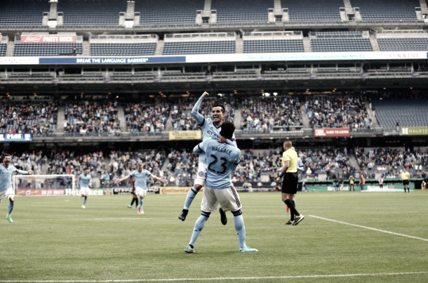 Rodney Wallace and Maxi Moralez celebrate the side's third goal. | Photo: NYCFC