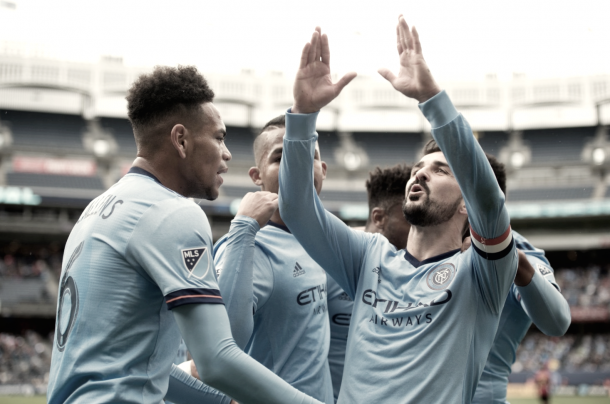 The captain celebrates the opening goal in front of the fans. | Photo: NYCFC
