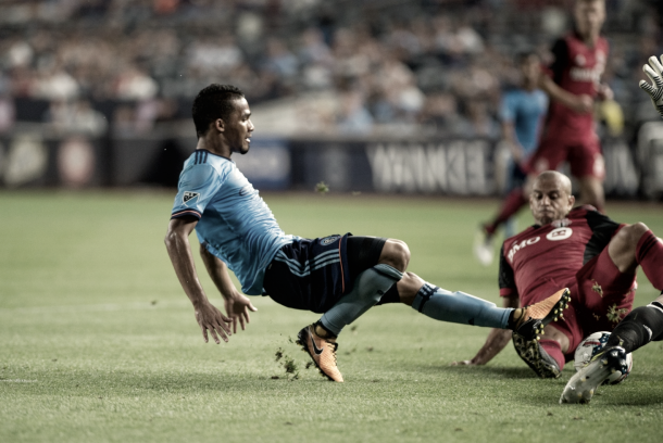 Yangel Herrera will be serving his suspension and will miss the match in Toronto. | Photo: NYCFC
