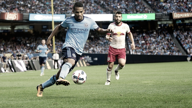 Yangel Herrera controlling the midfield in an earlier Hudson River Derby. | Photo: NYCFC