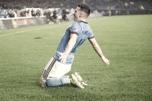 Jack Harrison celebrating the late winner. | Photo: NYCFC