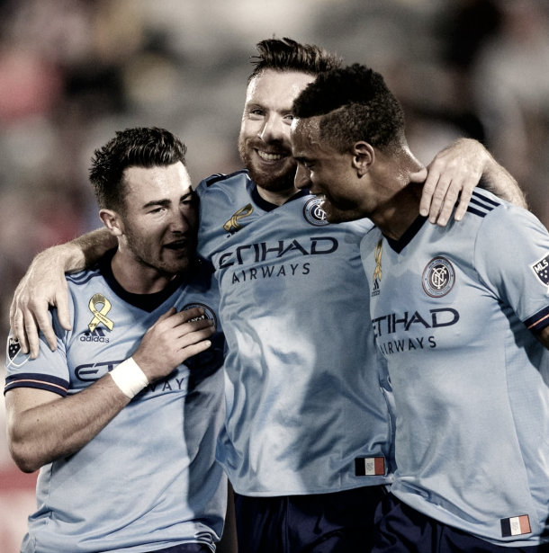 Thomas McNamara and his teammates celebrating their only goal of the match. | Photo: New York City FC