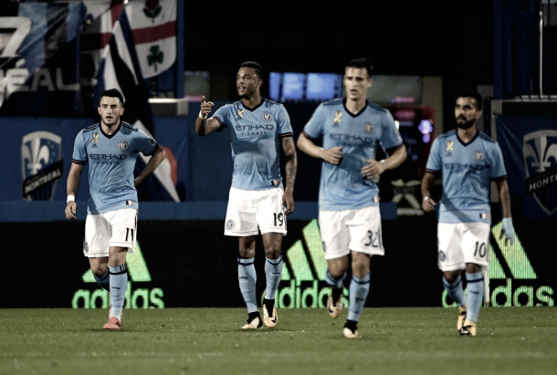 Jack Harrison and his NYCFC teammates after the breakthrough. | Photo: NYCFC