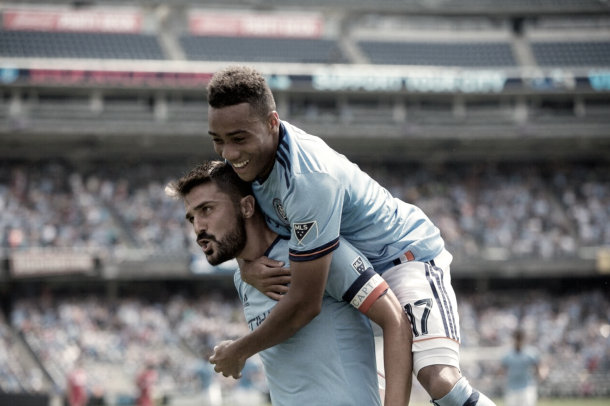 David Villa and Jonathan Lewis celebrating the opening goal back in July. | Photo: NYCFC