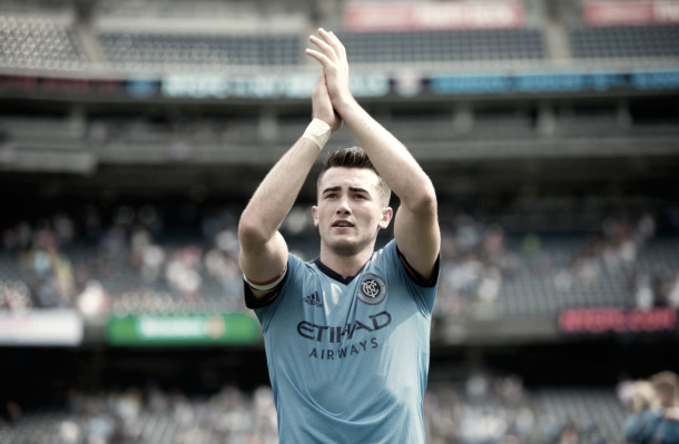 Jack Harrison thanking the NYCFC supporters. | Photo: New York City FC