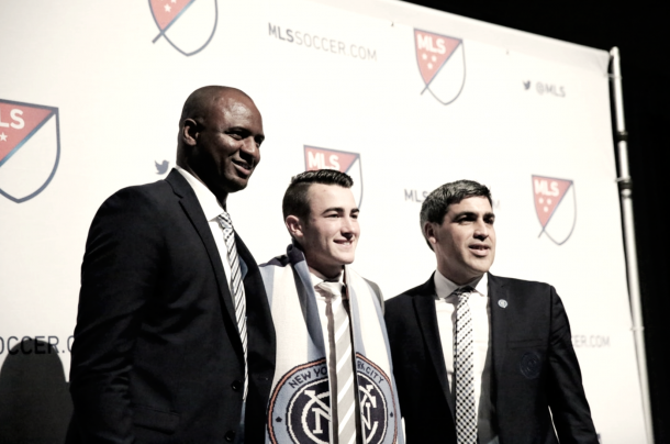 Jack Harrison at the 2016 MLS SuperDraft with Patrick Vieira and Claudio Reyna. | Photo: New York City FC