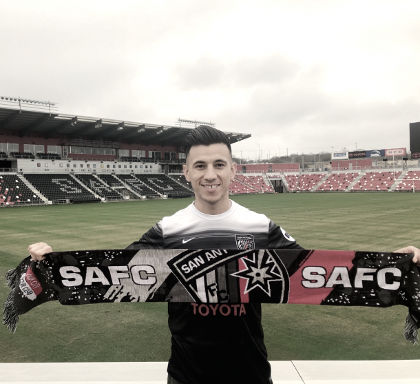 Lopez happy at San Antonio FC. | Photo: @MLopez12_5 on Twitter
