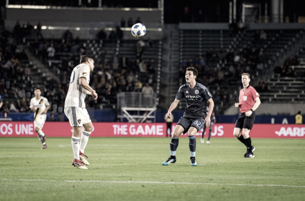 Joe Scally vs. LA Galaxy this past preseason. | Photo: New York City FC